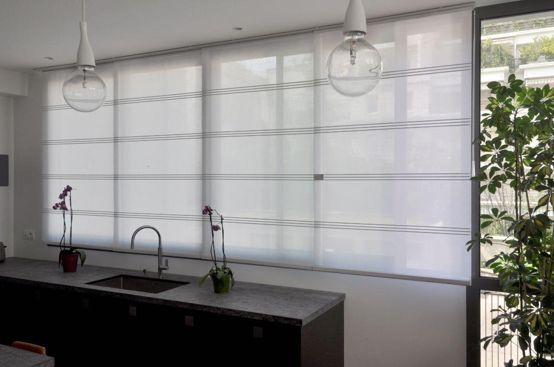 panneaux japonais courts parfaits pour habiller la fen tre de votre cuisine stores japonais. Black Bedroom Furniture Sets. Home Design Ideas