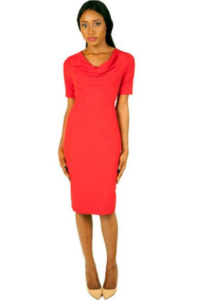 ODIRI SHORT SLEEVED MIDI LENGTH COWL NECK DRESS #EVEANDTRIBE  #AfricanFashion #NigerianFashion #BuyNigerian   Available at http://lespacebylpm.com/