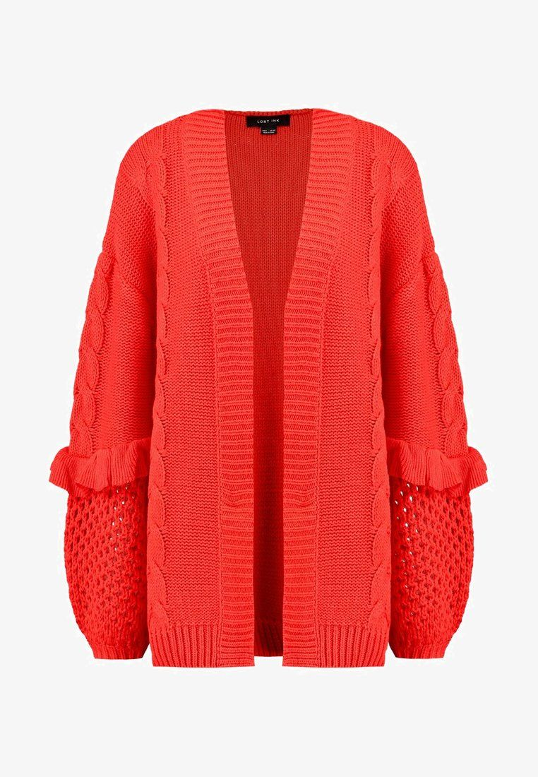CABLE AND FRILL CARDI Strickjacke coral @