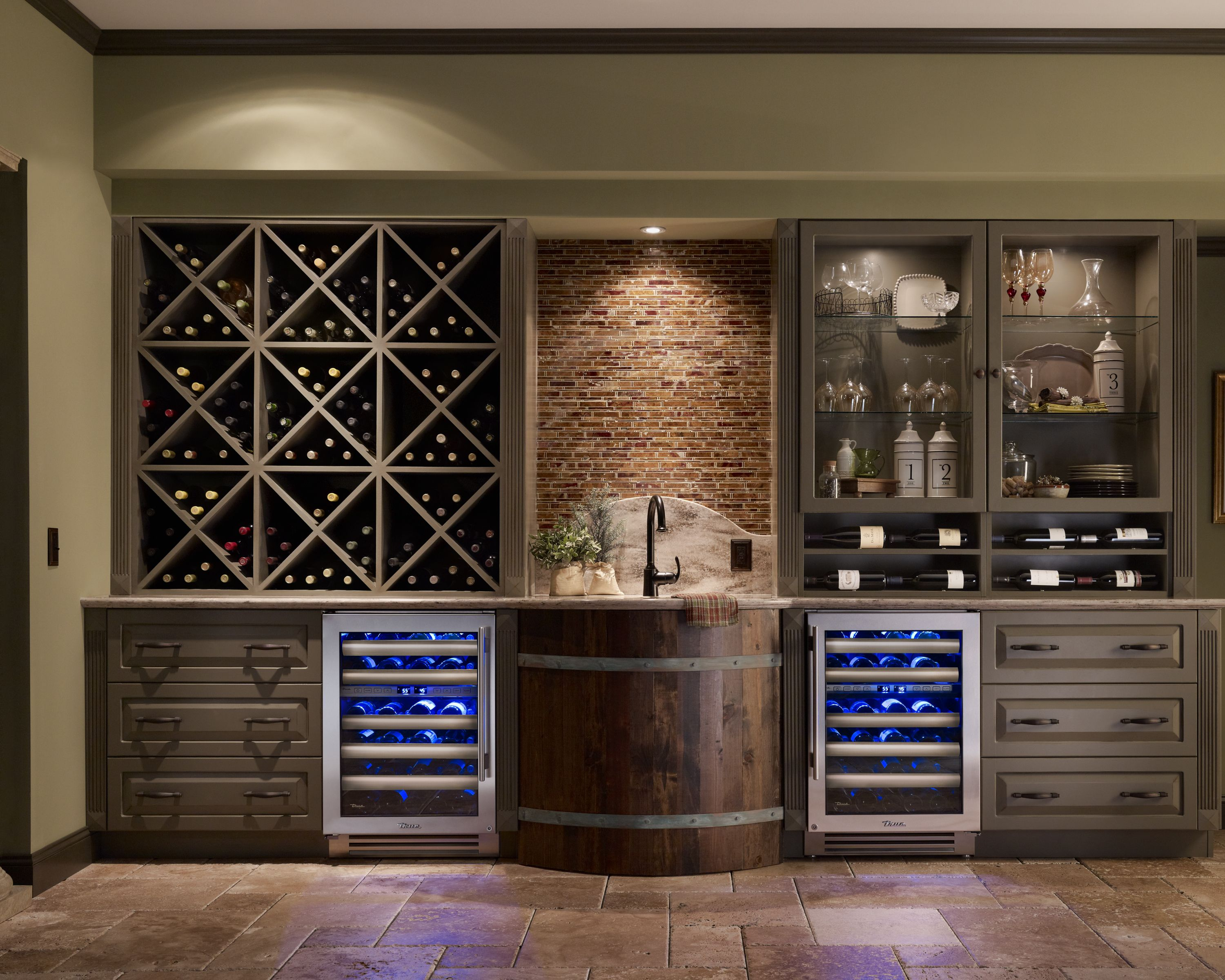 Sonoma wine room with true residential 24 dual zone wine cabinets inspiring spaces - Residential bars ...
