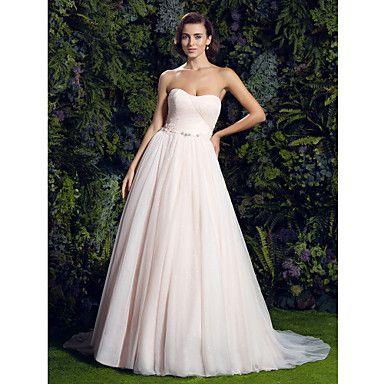 vestido tribunal tren sin tirantes de tul vestido de boda brillo pelota romántico (1611808) – USD $ 199.99