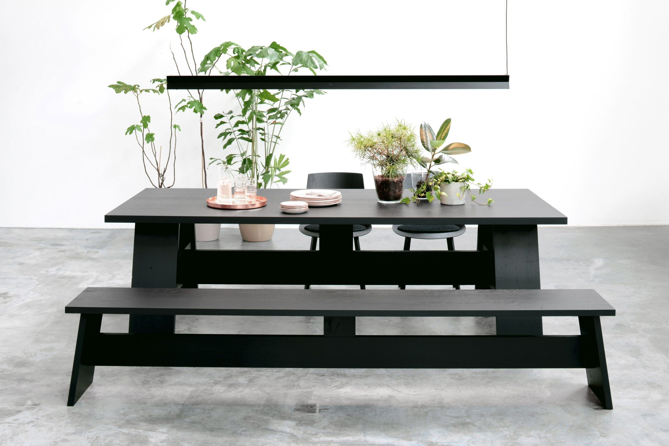 Monochrome Furniture Monochrome Dining Table Fayland And Bench Fawley By David