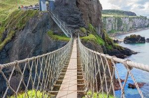 The impressive Carrick-a-Rede Rope Bridge in Ballintoy, Co Antrim.