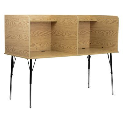 Flash Furniture Double Wide Study Carrel with Adjustable Legs - MT-M6222-OAK-DBL-GG