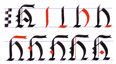 Gothic Writing Capital Letters A Z Letter H