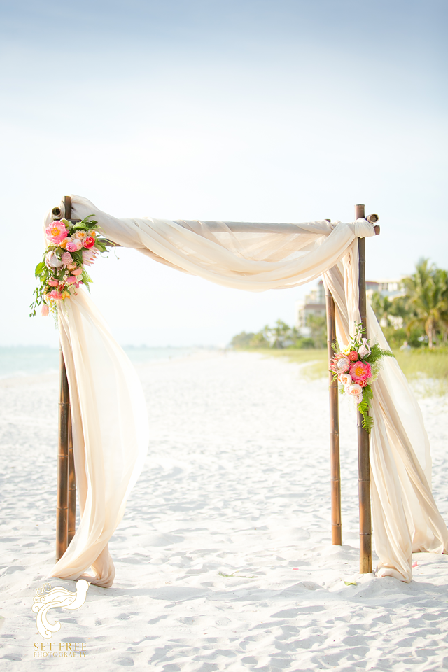 We Are Dying Over These White Sand Beaches Of Naples Florida This Rare Dark Bamboo Wedding Arbor And Mixed Toned Drapery Were Perfect Laplaya Beach