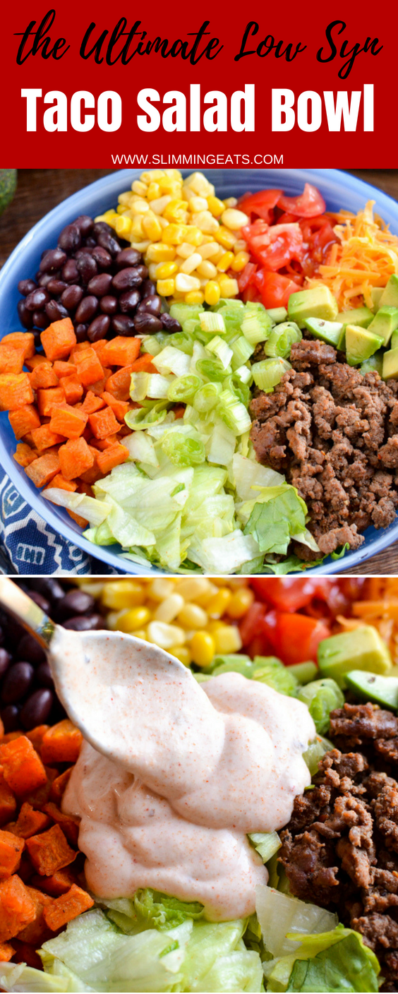Love Tacos? Dig into this ultimate Low Syn Taco Salad Bowl which is gluten free, Slimming World and Weight Watchers friendly #slimmingworld #weightwatchers #beef #tacosalad #tacosalad