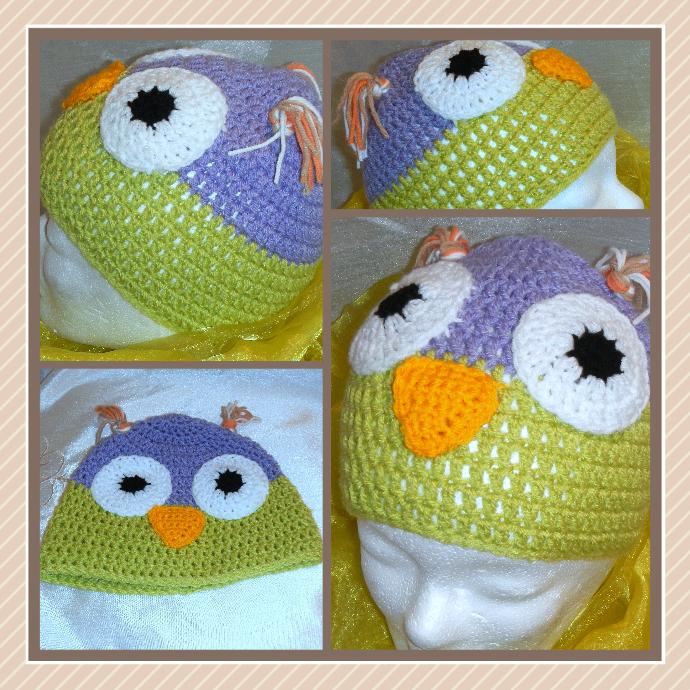 Motivmützen, Tiermütze, Mütze, Eule gehäkelt crochet hat owl