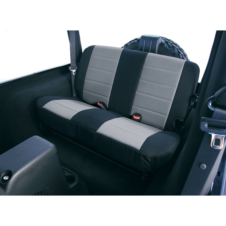 Neoprene Rear Seat Covers Gray 97 02 Jeep Wrangler Tj Neoprene Seat Covers Jeep Wrangler Tj Seat Covers