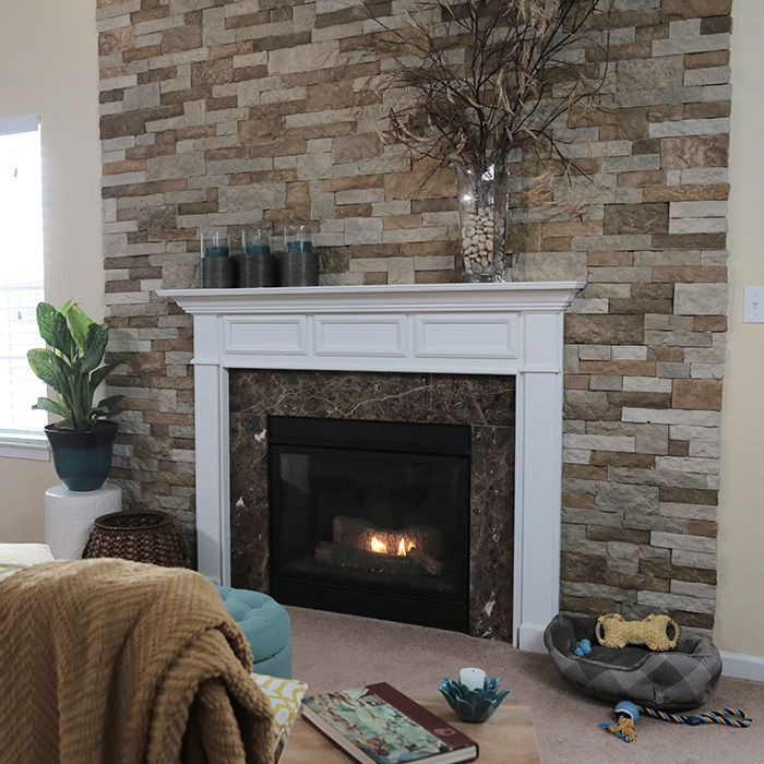 If You Like The Look Of Stonework But The Project Is Daunting Consider Faux Stone Veneer It Look Stone Wall Living Room Faux Stone Walls Stone Walls Interior