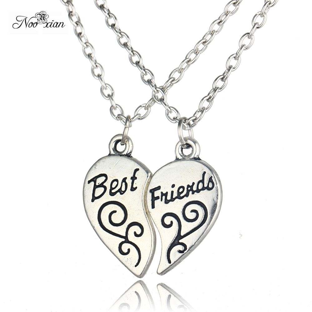 Nooxian Two Halves Broken Heart Pendant Best Friends Necklace BFF Pendant Friendship Necklace Statement Jewelry Gift for Friends