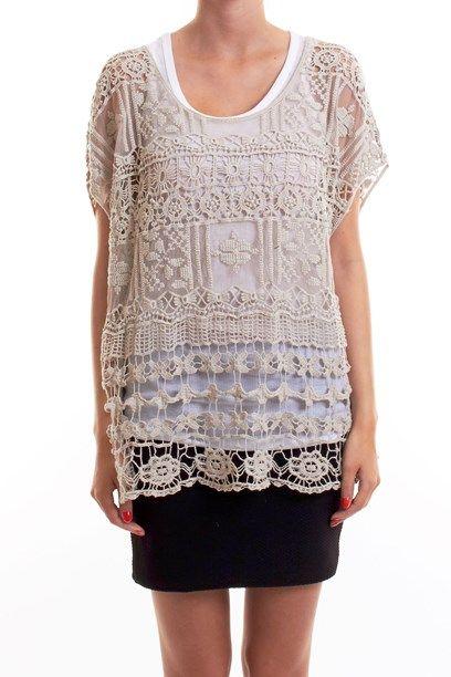 TAIMA TOP - Shear crochet top with dapper pattens. gennemsigtig hæklet og blonde top.