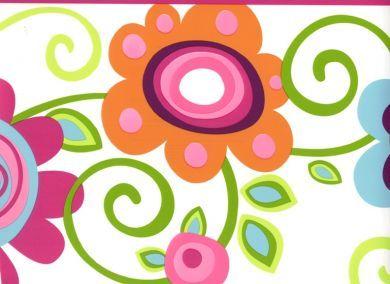 for the girls bedroom border - Floral Scroll Pink Border