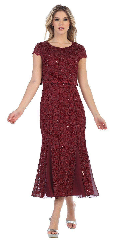 Lace Tea Length Short Sleeves Wedding Guest Dress Burgundy Dress