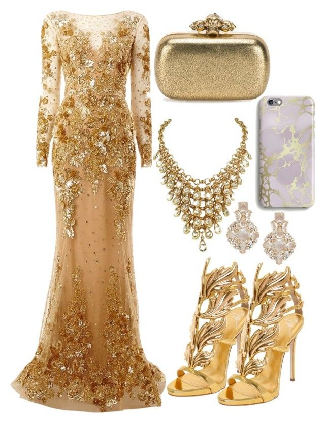 """Dripping in Gold"" by bokwitmebrunz ❤ liked on Polyvore featuring Zuhair Murad, Giuseppe Zanotti, Kate Spade, Alexander McQueen and Harper & Blake"