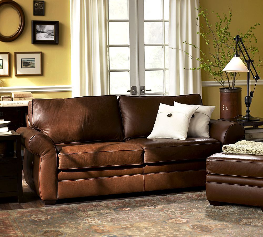 Cool Comfortable Color Cognac Leather Sofa Living Room Brown