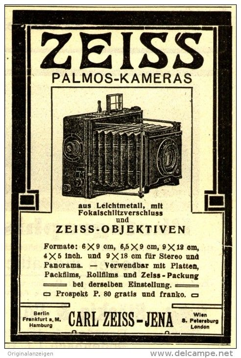 Original-Werbung/Inserat/ Anzeige 1908 - CARL ZEISS JENA / PALMOS KAMERAS - ca. 70 x 100 mm
