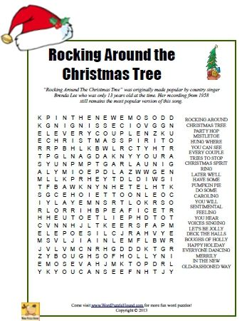 Rocking Around The Christmas Tree Word Search   Christmas Printable Word  Search Puzzle