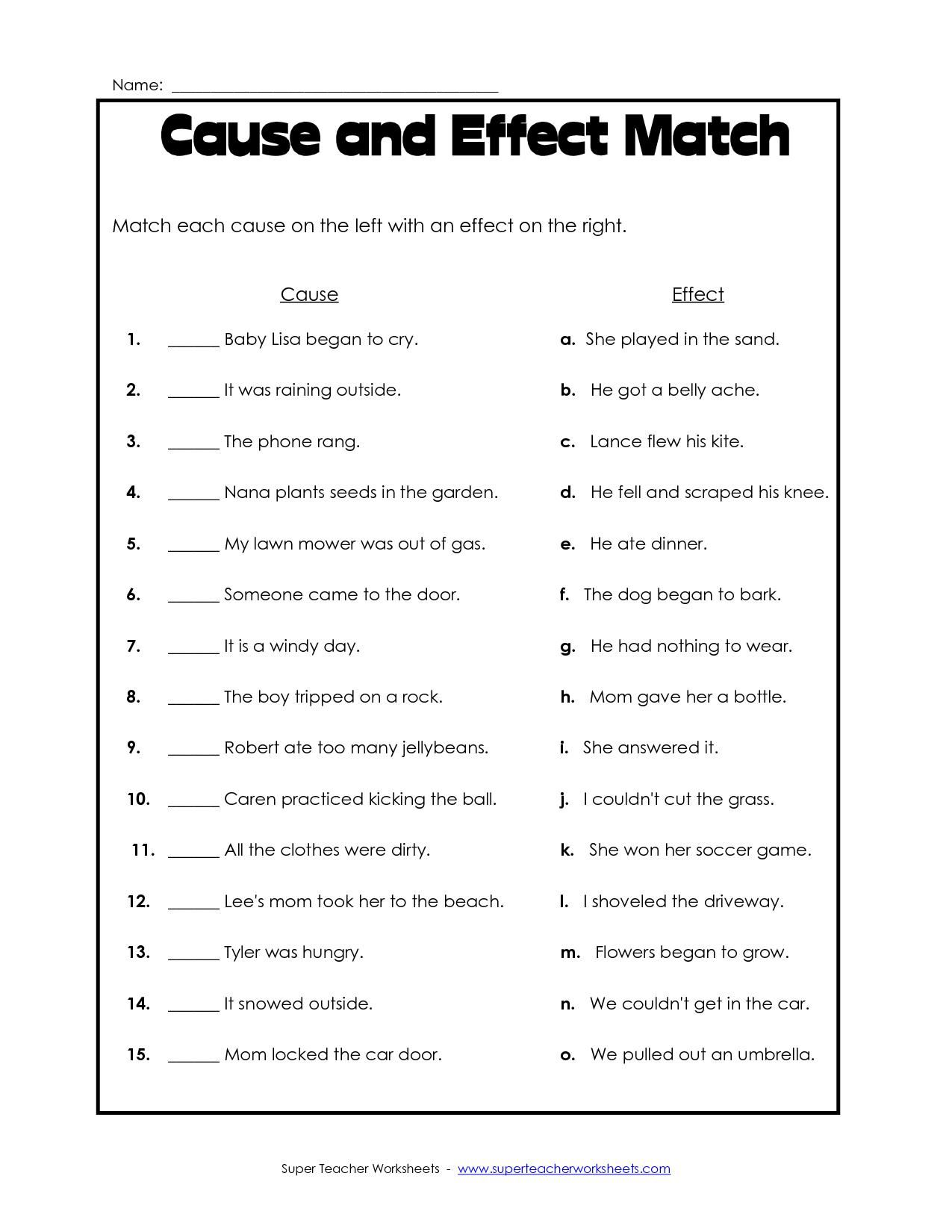 Printable Worksheets Cause And Effect