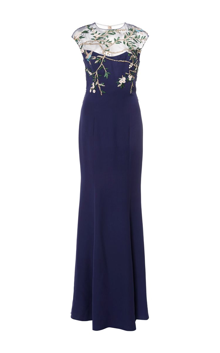 Embroidered cap sleeve illusion gown by Monique Lhuillier