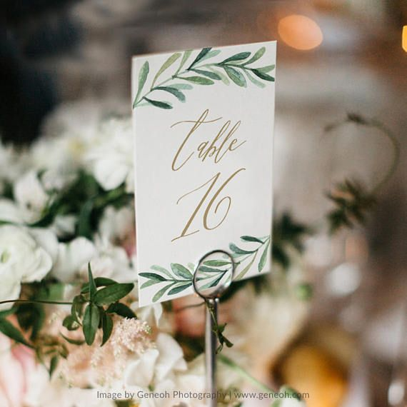Greenery Table Number Template \u2022 Printable Wedding Table Number - Download Numbers Spreadsheet For Mac