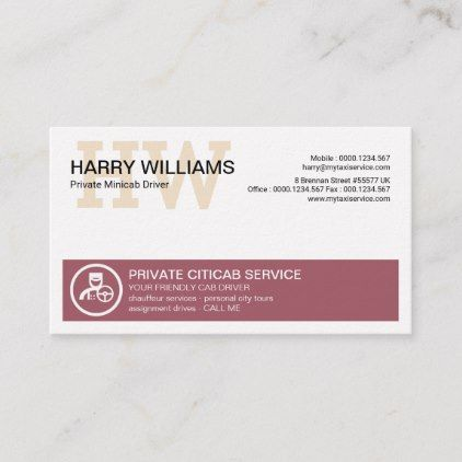 Professional Private Driver Simple Monogram Taxi Business Card Zazzle Com Taxi Business Cards Monogram