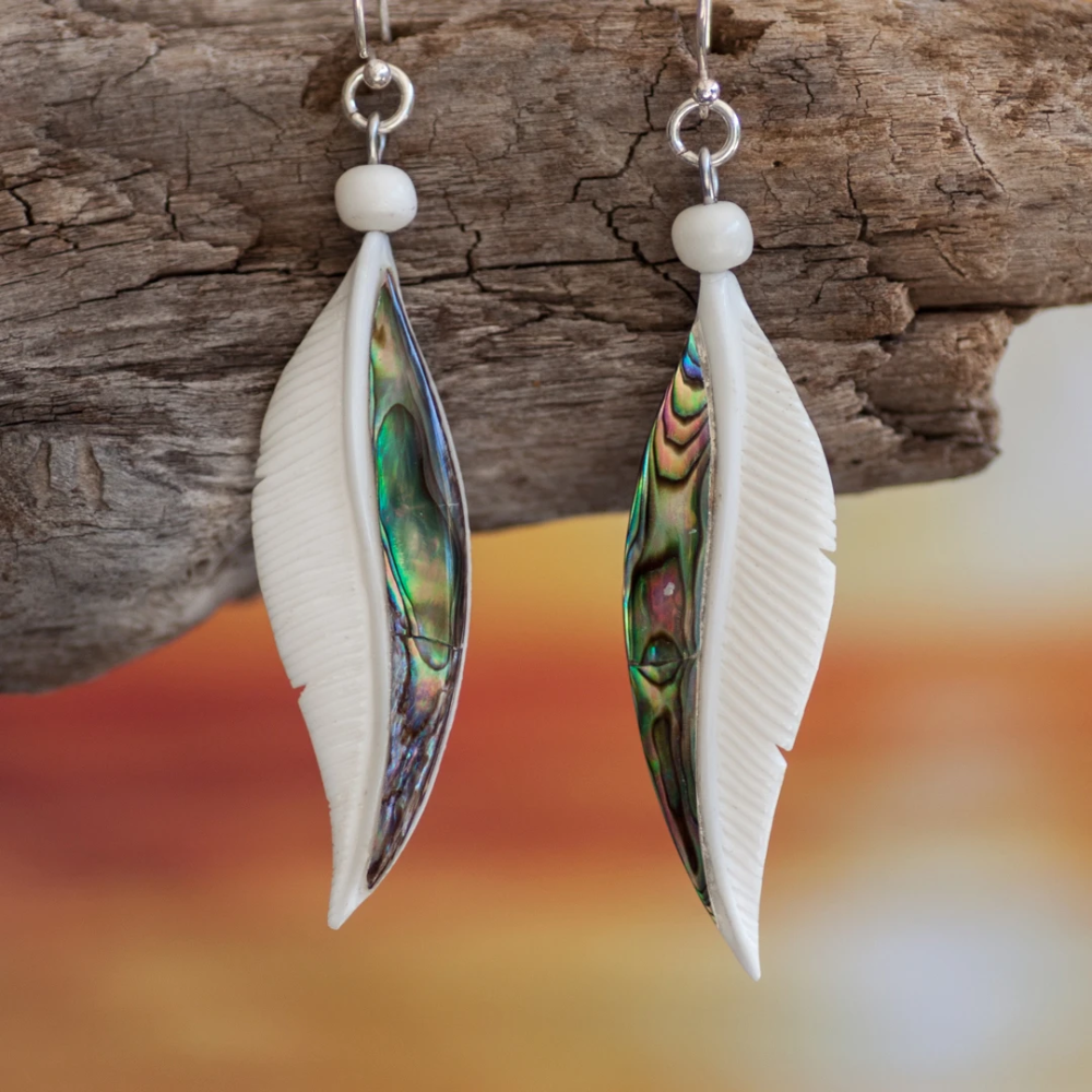 Abalone Feather Earrings In 2020 Feather Earrings Hand Carved Feather