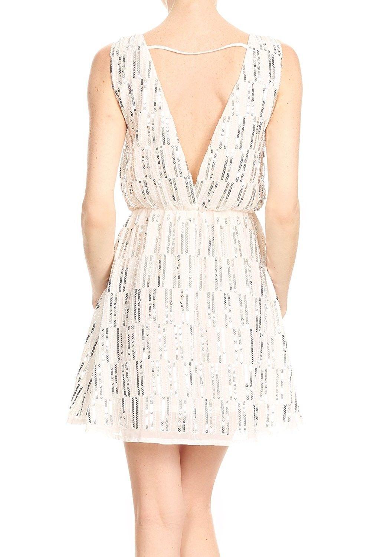 7d8039a66d2 Anna-Kaci Womens Backless Sleeveless Sequin Stripe Mini Dress With ...