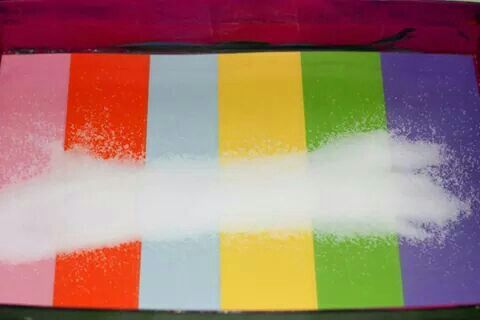Papierstreifen bunt zuschneiden,  laminieren und in einen Schuhkarton legen. Mit Salz befüllen.  Kinder können damit malen