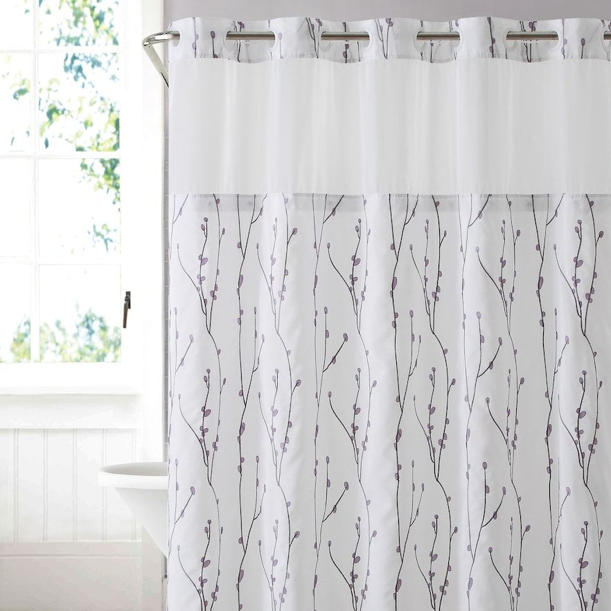 Hookless Cherry Bloom Shower Curtain Liner White 71x74