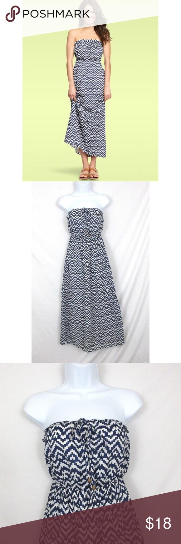 Gap Blue White Printed Strapless Maxi Dress Euc Strapless Maxi Dress Style Maxi Dress Blue And White Style [ 1740 x 580 Pixel ]