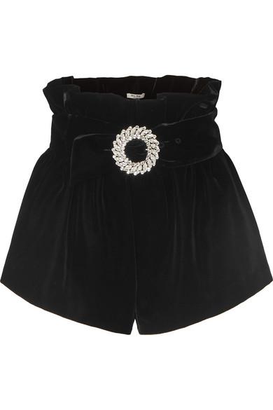 Miu Miu – Belted Velvet Shorts – Black