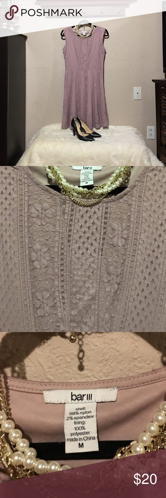 Bar ||| blush/taupe colored dress size medium Beautiful spring dress. A line lace dress in a size medium. Very comfortable! Bar III Dresses