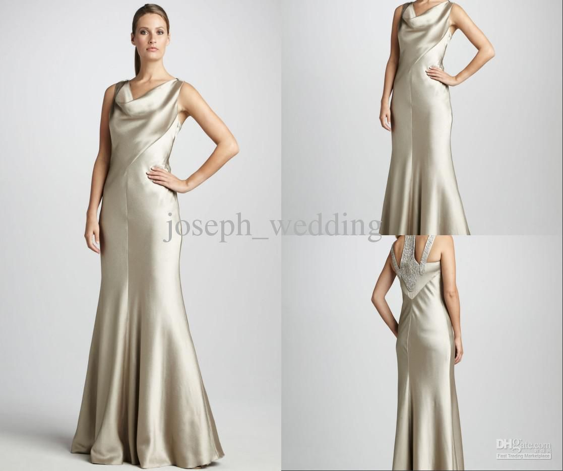 Cowl Neck Satin Wedding Dresses: WATCH!!!Cowl Neck Satin Mermaid Smooth Beaded Back