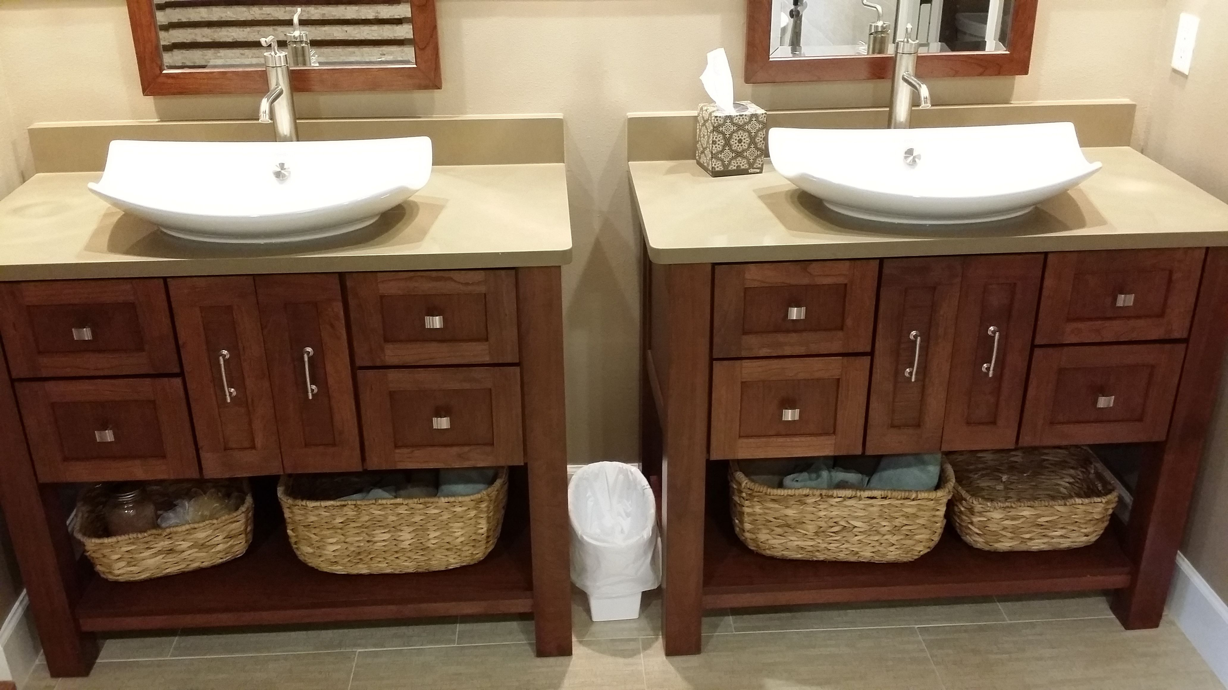 Gorgeous double vanities with white vessel sinks and ...