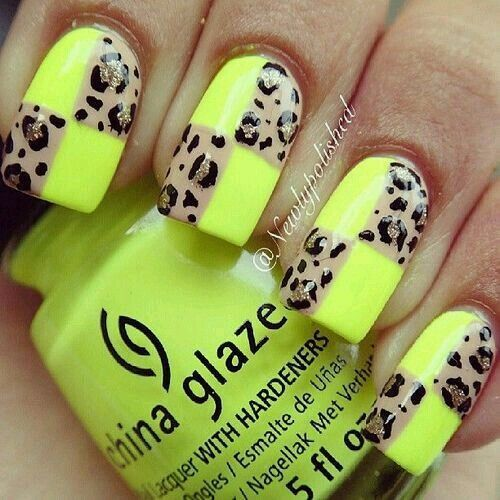 Neon yellow and leopard block print nailart #nailart #nails #neon #yellow #leopard #block
