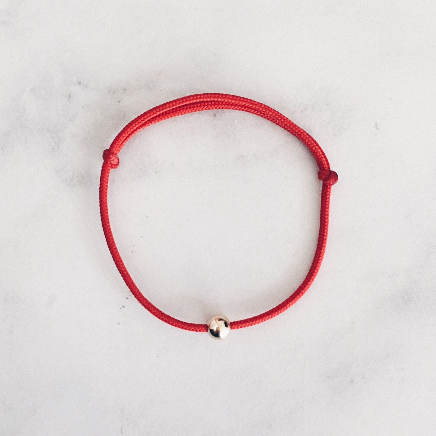 Red string bracelet with k gold filled bead thick protection