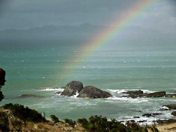 Rainbow captured south of Swansea, near Spiky Bridge. Photo by David Williams, article for www.think-tasmania.com