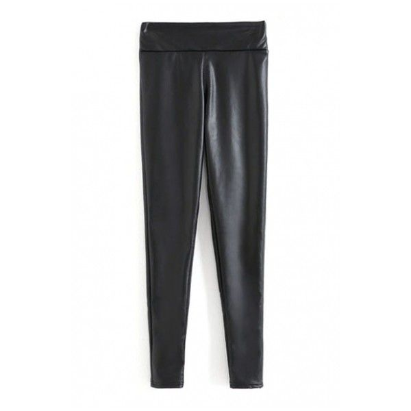 Elastic Waist Plain Thicken Skinny PU Leggings (61 BRL) ❤ liked on Polyvore featuring pants, leggings, pu leggings, black skinny pants, skinny trousers, elastic waist pants y black skinny leg pants