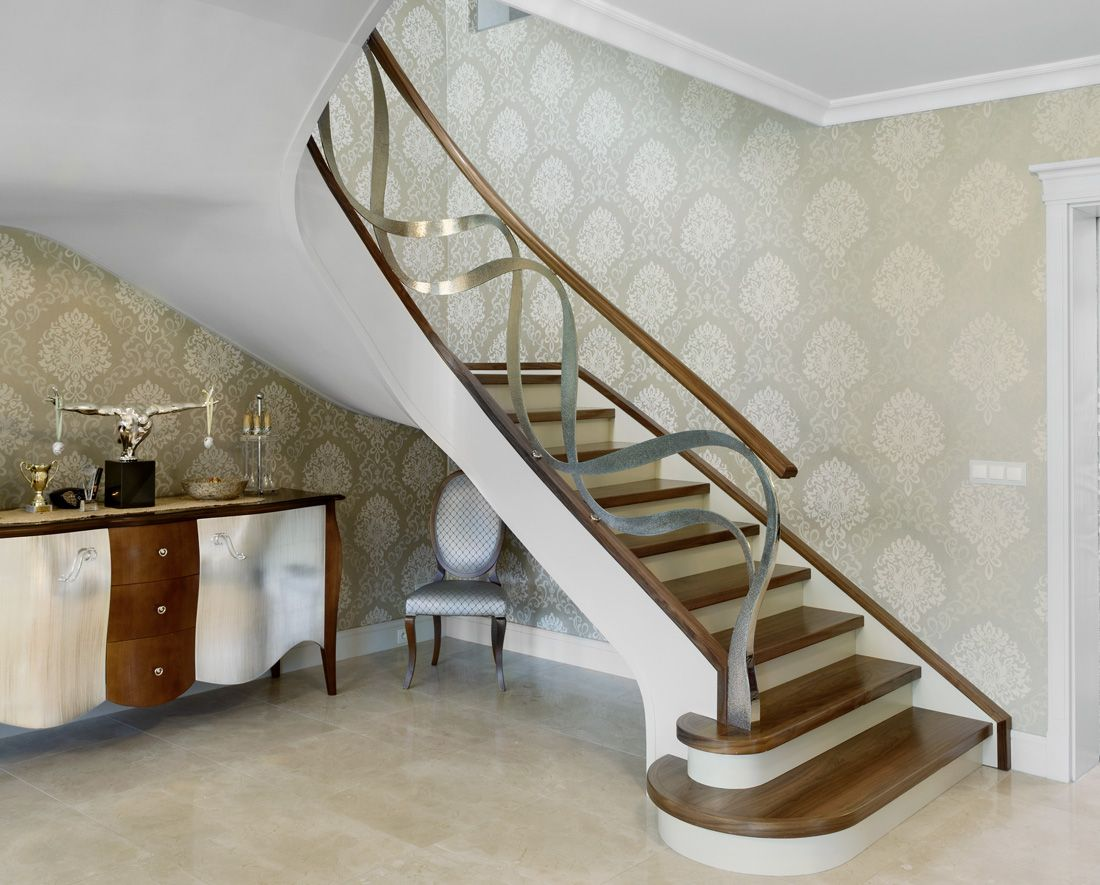 Best St795 Two Flights Of Curved Stair Made Of American Walnut 400 x 300