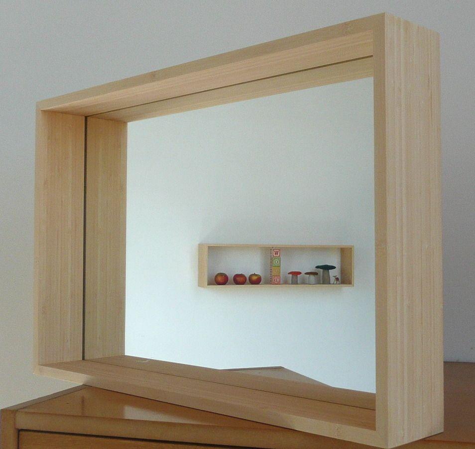 miroir encastr dans un cadre en bois massifdimensions. Black Bedroom Furniture Sets. Home Design Ideas