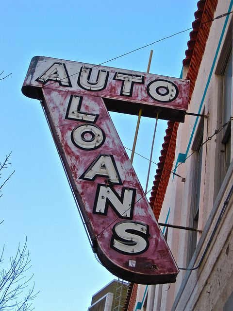 A Formerly Neon Auto Loans Sign In Downtown El Paso Texas
