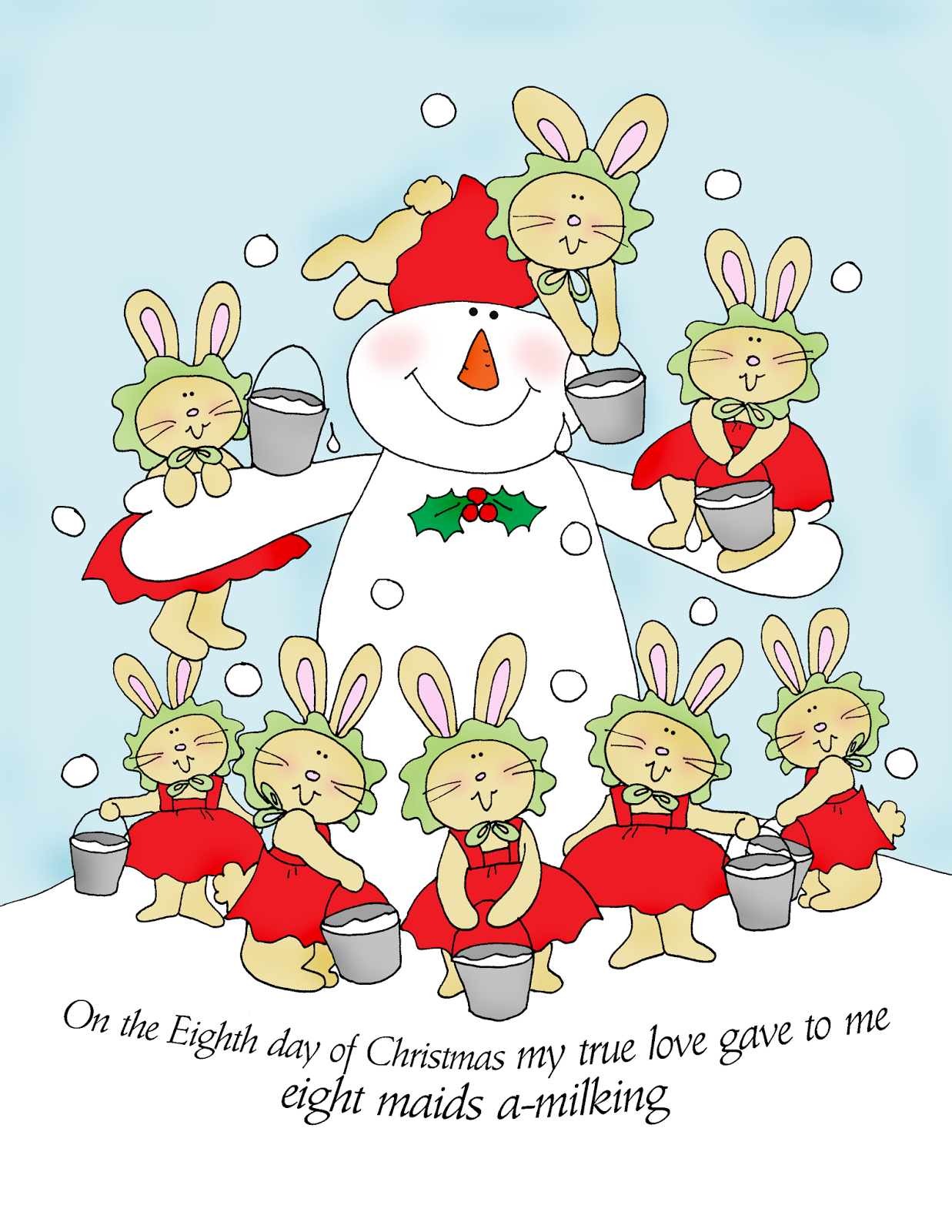 free dearie dolls digi stamps the 12 day of christmas eight maids a  [ 1237 x 1600 Pixel ]
