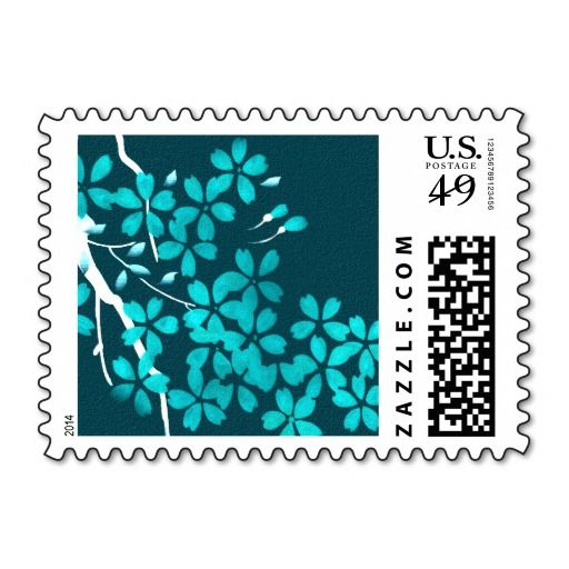 Cherry Blossom Branch Teal Postage Stamp