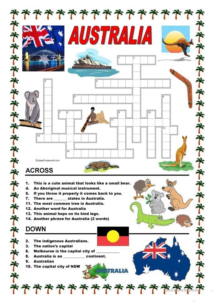 Australia Crossword 1 Australia Pinterest Australia