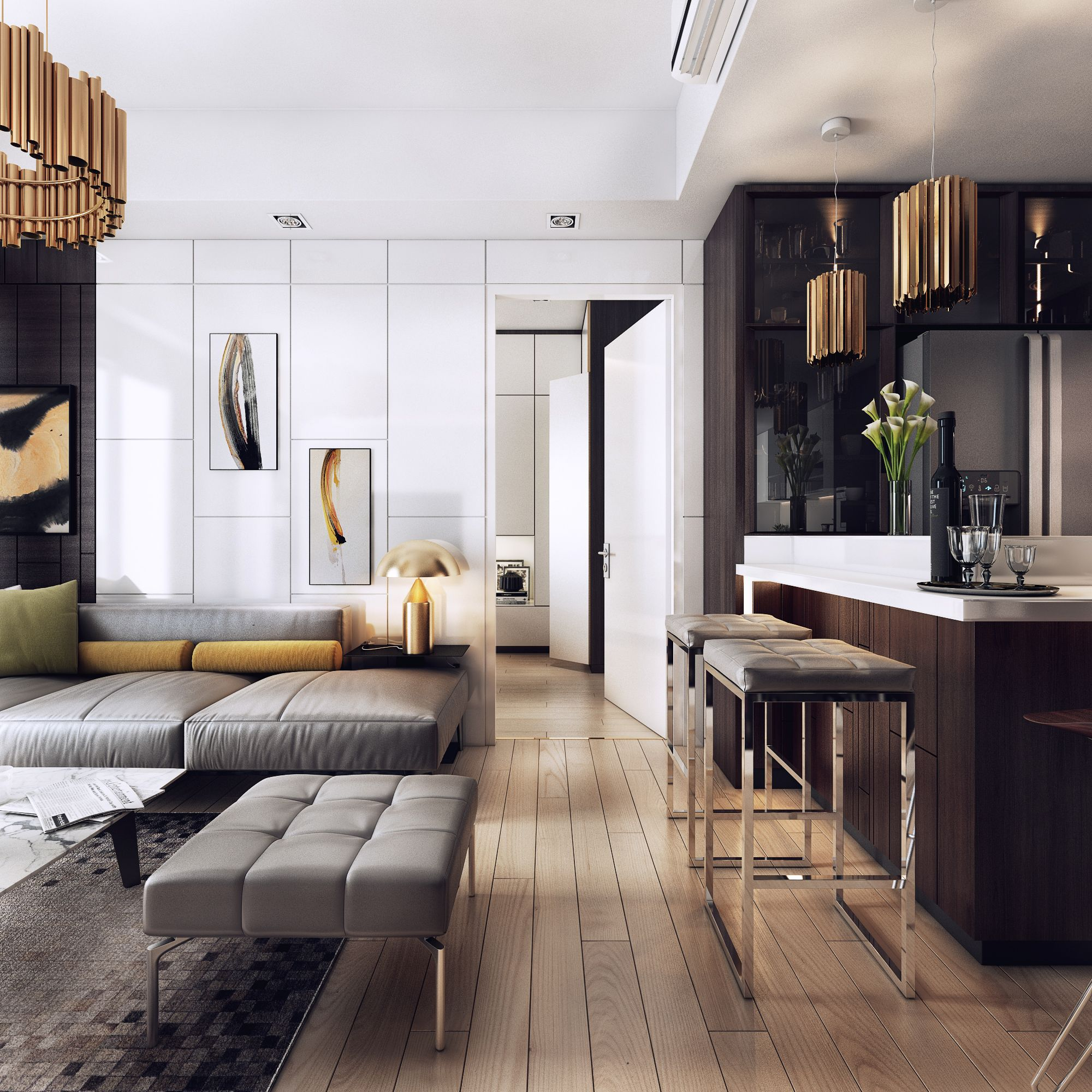 I really like the apartments of this type, with the space there is a strong… | Luxury apartments interior, Modern apartment design, Luxury apartment interior design