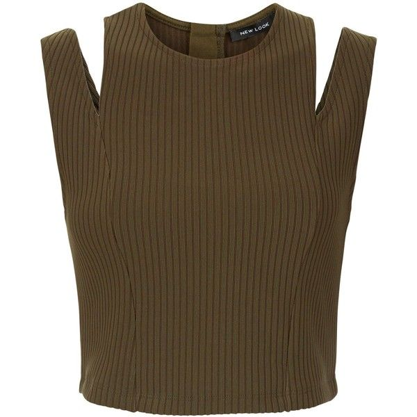 New Look Khaki Ribbed Cut Out Shoulder Crop Top (€18) ❤ liked on Polyvore featuring tops, khaki, brown tops, cold shoulder tops, open shoulder top, cut shoulder tops and khaki top