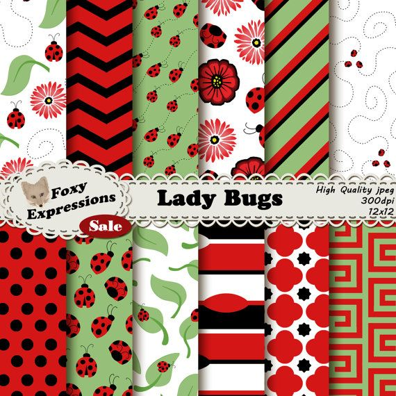 #New Foxy Item! See more at www.FoxyExpressions.com Lady Bug digital paper comes in #Red, #Black, White, and Green. Designs include Lady Bugs, Flowers, Leaves, Swirls, Chevron, Polka Dots & more  This pack is great for scrapbo... #new #foxyitem #sale #foxyexpress #ladybugs #flowers #spring #summer #leaves #green #red #black #outside #garden