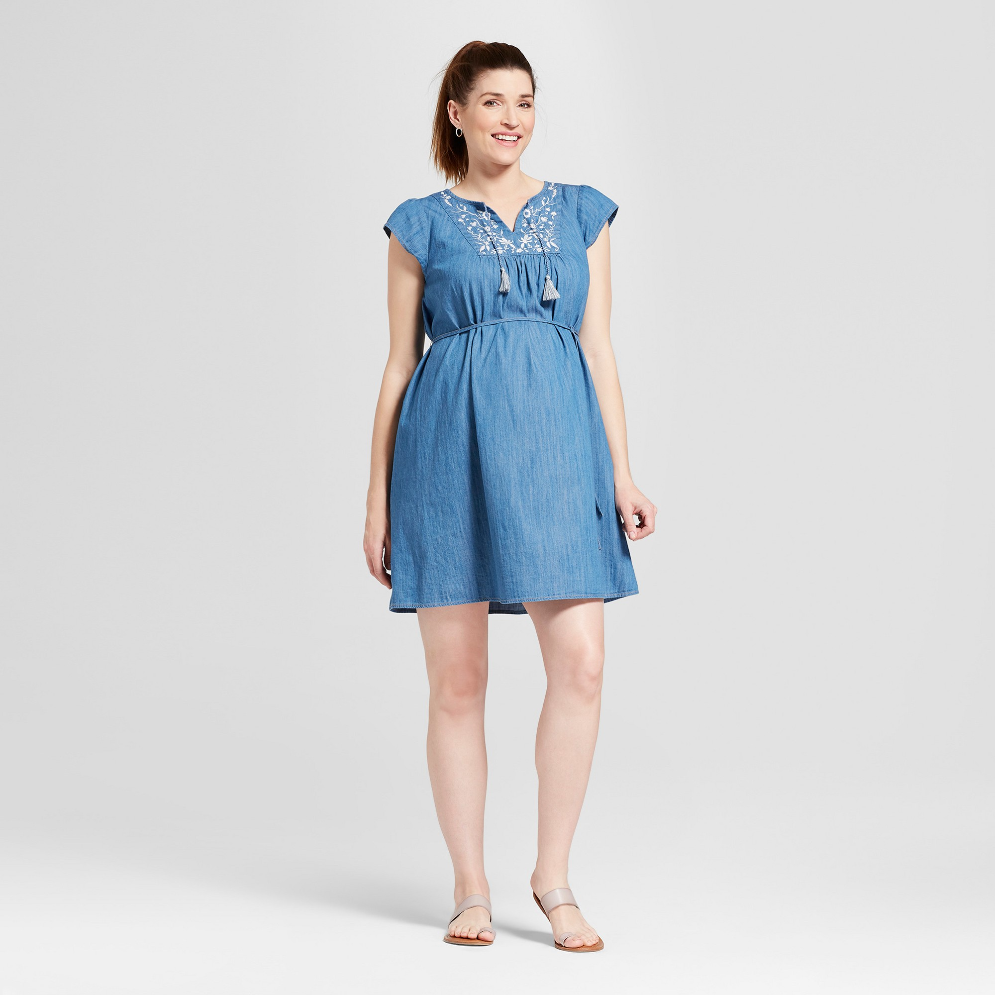 5200b05edc1 Maternity Embroidered Denim Dress - Isabel Maternity by Ingrid   Isabel  Chambray M