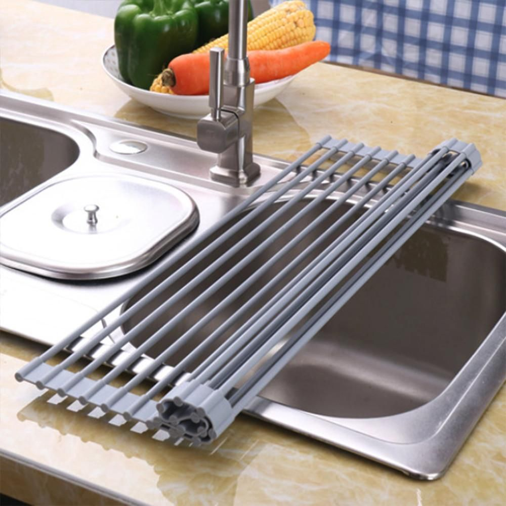 Dish Drying Rack Walmart Amusing Topeakmart Over The Sink Multipurpose Foldable Rollup Dish Drying 2018